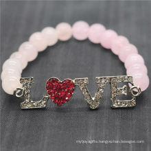 Rose Quartz 8MM Round Beads Stretch Gemstone Bracelet with Diamante Alloy Love Piece