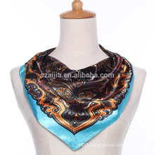 Fashion floral print polyester square silk satin lady scarf