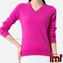 V-образный вырез светло-розовый кашемировый свитер с длинным рукавом