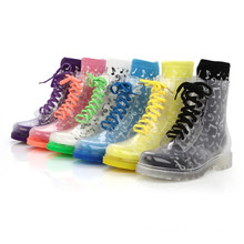 Hot White Rubber Clear Transparent Ankle Hightop Lace Up Flat Rainboots B-817