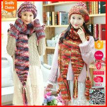 2017 fashion design wholesale knitted hat scarf glove set
