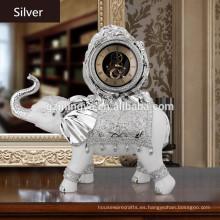 2016 nueva decoración de interiores de estilo para la casa nueva reloj de elefante resina arte artesanal reloj