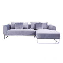 Nordic Home Furniture Metal Base Modular Corner Sofa Silver Grey Modern Velvet Sectional Couch