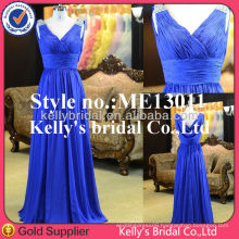 Fashion and elegant dresses cape type back design royal blue chiffon dress or silk green cheongsam long evening dress
