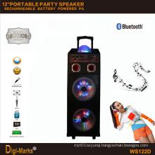 12′′*2 Mobile Party DJ LED Karaoke Trolley Bluetooth Active Speaker