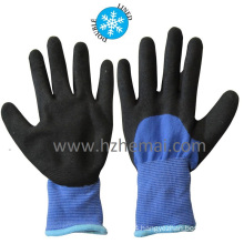 Insulated Double Liner Coated Sandy Nitrile Winter Safety Work Gloves