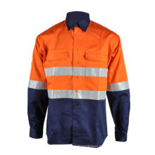 Рубашка из хлопчатобумажной ткани FR Hi Vis Work Safety
