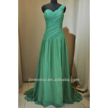 Watch!!! Real Photo!!! A-line Floor Length One Shoulder Chiffon Lime Green Evening Dress DE212