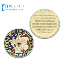 High Quality Custom Metal Engraving Logo Zinc Alloy Gold Plated Soft Enamel Us Army Air Force Iac Friends of Scouting Boy Scout Coin for Sale