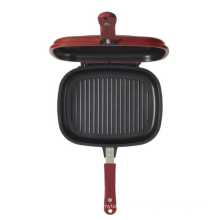 Cast aluminium fry pan 28cm diameter grill pan double side