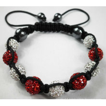 White And Red Shamballa Bracelet With Crystal Pave Beads BR44