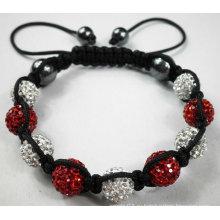 Белый и красный браслет Shamballa с кристаллами Pave Beads BR44