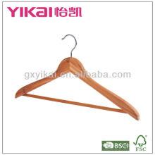 Percha plana de madera con barra redonda