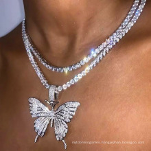 Fashion Hiphop Diamond Cuban Link Pink Butterfly Necklace Pendant Chain