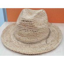 Chapeau d'été de chapeau de paille Raffia Fedora (SW-080003)