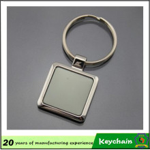 Promotional Gift Laser Logo Square Key Ring Metal Keychain