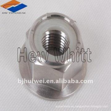 Tuerca de nylon de brida hexagonal de titanio