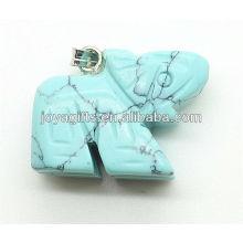 Mode blau türkis Elefanten Anhänger halb kostbaren Stein Anhänger