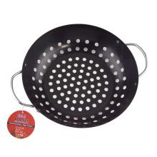 grelha redonda bife chapa de ferro fundido wok