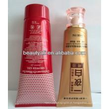 Tubo de plástico colorido para creme cosmético com impressão de seda