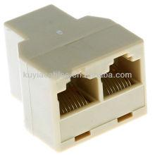 RJ 45 Ethernet Network Splitter Conector do acoplador Permitir que dois computadores compartilhem DSL de alta velocidade, modem a cabo e portas Ethernet