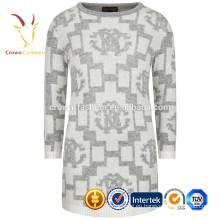 Intarsia 100% Cashmere Niño Invierno Grueso Vestido Casual Niñas
