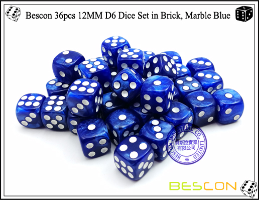 Bescon 36pcs 12MM D6 Dice Set in Brick, Marble Blue-5