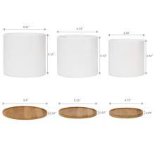 Wholesale 3 size durable white cheap plants pots ceramic flower pots succulent planter pot with bamboo tray