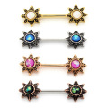 Starburst Opal Stainless Steel Nipple Barbell