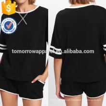La camiseta a rayas y los pantalones cortos de la vinculación del contraste fijaron la ropa de las mujeres de la manera de la venta al por mayor (TA4119SS)