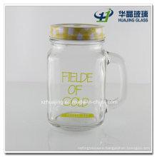 450ml 16oz Logo Printing Glass Mason Jar with Handle