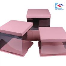 Caixa de papel personalizada do bolo do rosa do quadrado do papel do produto comestível do logotipo com janela clara