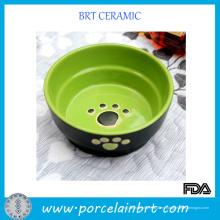 Tazón de cerámica para mascotas con huella