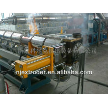 Film recycling and granulating with two-stage compounding extrusion line