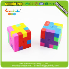 3D Coloré Mini TPR Ensembled Puzzle Cube Eraser