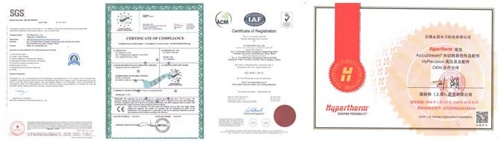 CNC Wter Jet Machine Certifications