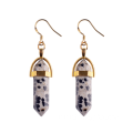 Gold Plated Hexagon Point Gemstone Dangle Charm Earrings