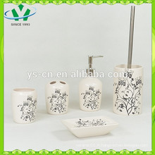 Elegant Black Flower White Ensembles de bain en céramique neuf