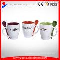 Cor personalizada caneca de café vitrificada com alça de inserção de colher
