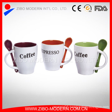 Personalized Color Glazed Coffee Mug with Spoon Insert Handle