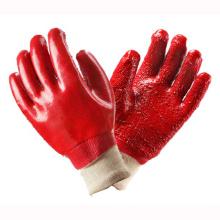 Guantes de PVC completamente recubiertos de color rojo