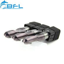 Fraises en bout à bout sphérique en carbure de tungstène HRC60 TiSiN de haute qualité de BFL
