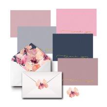 Tarjetas de agradecimiento Conjuntos en blanco en papel de lino, sobres decorativos y calcomanías de cumpleaños a juego y diseño de tarjetas de boda