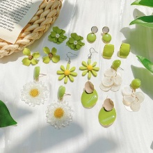 Avocado Green Flower Stud Earrings Series Fresh Cute Summer Earring Jewelry Creative Design Women Acrylic Earring Gifts