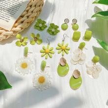 Avocado Green Flower Stud Earrings Series Fresh Cute Summer Earring Jewelry Creative Design Women Acrylic Earring Gifts