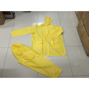 kuning Lelaki Hooded Long Waterproof PVC Rainsuit