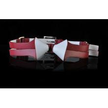 Женский новейший дизайн коллокации красного и белого моды синий замшевый ремень