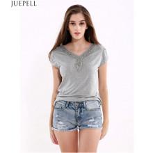 100% Algodón Verano Nuevas mujeres de manga corta camiseta Color sólido Tamaño grande suelto Casual V-cuello Señora rebordeado Camiseta