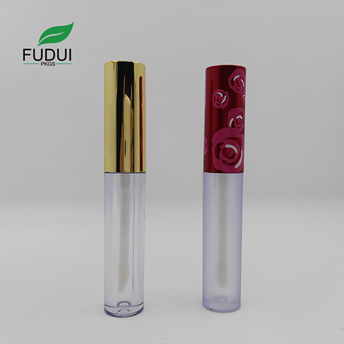 Round Empty plastic lipgloss tube gold cap