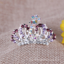 Kids Colorful Crown Rhinestone Tiara Comb for Party